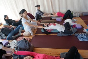 Students practicing prenatal partner poses.